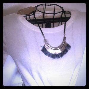 Statement Silvertone Braided Collar Necklace